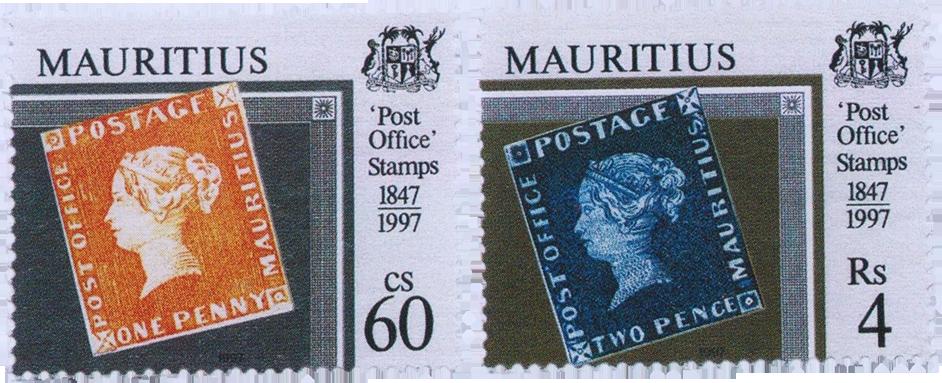 Марки Маврикия с изображением первых марок острова