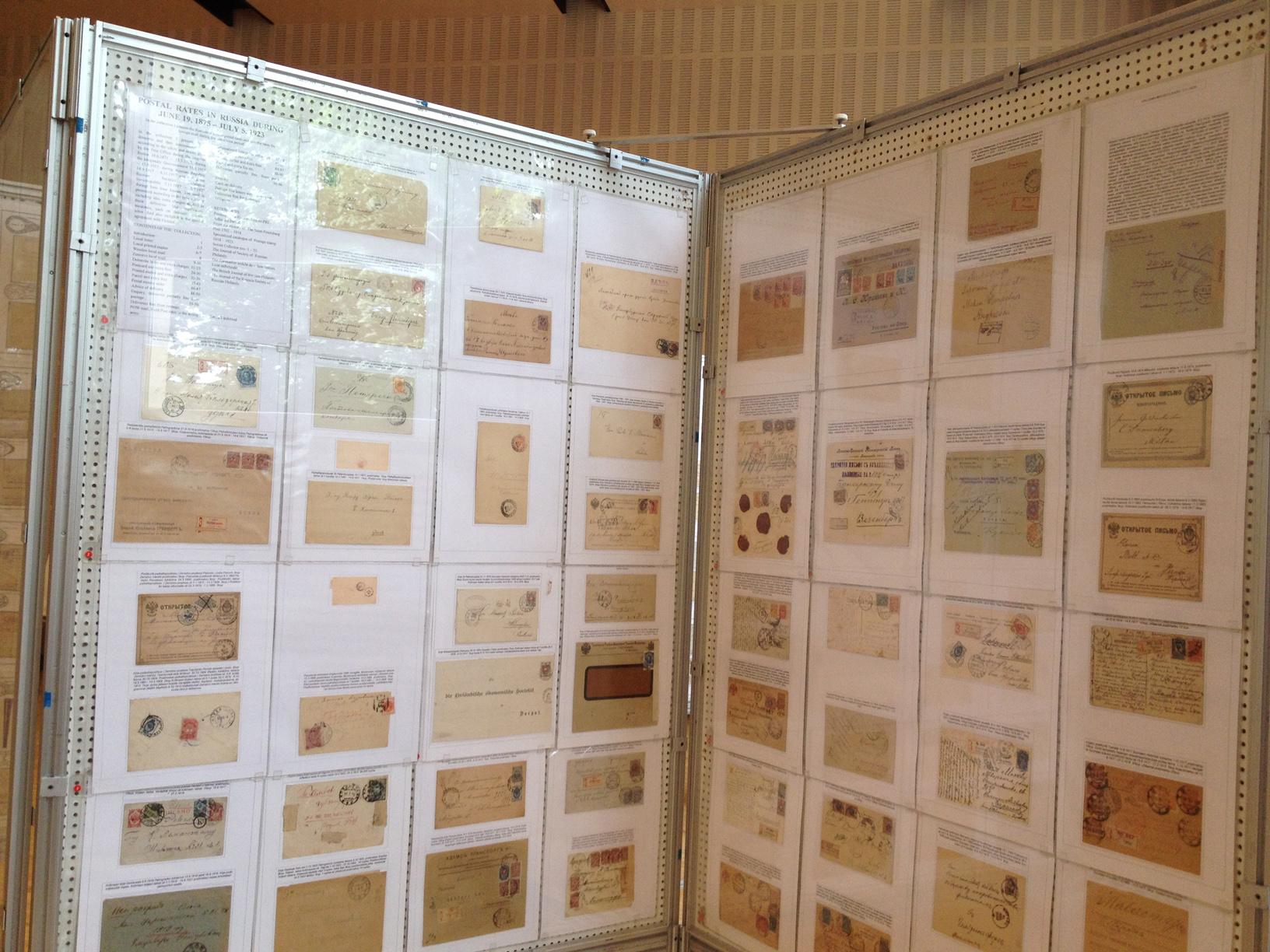 Стенд выставки «110 лет Таллинскому обществу филателистов»