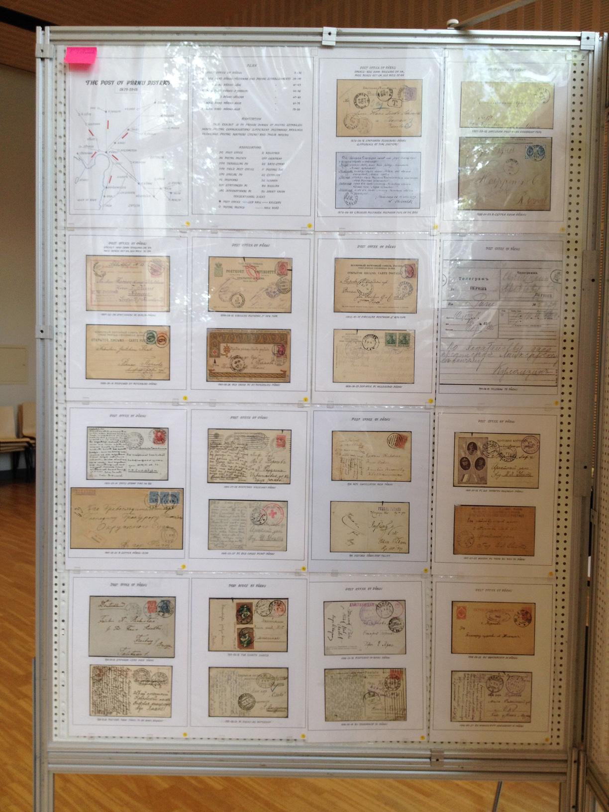Стенд с филателистическим материалом «Почтовое сообщение в Пярну»