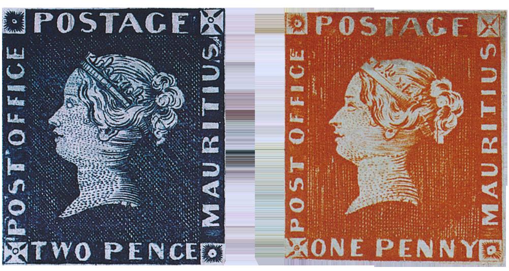Первые марки - черный и красный пенни