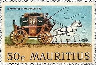 Почтовая марка Маврикия с изображением кареты, запряженной лошадьми