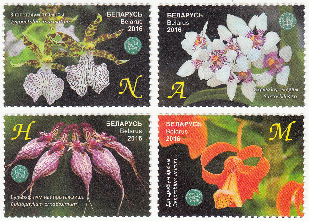 Серия из четырех марок Центральный ботанический сад НАН Беларуси. Орхидеи.