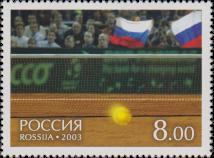Теннисный мяч у сетки корта