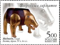 Медведь: сосуд, золото, дерево, IV в. до н.э